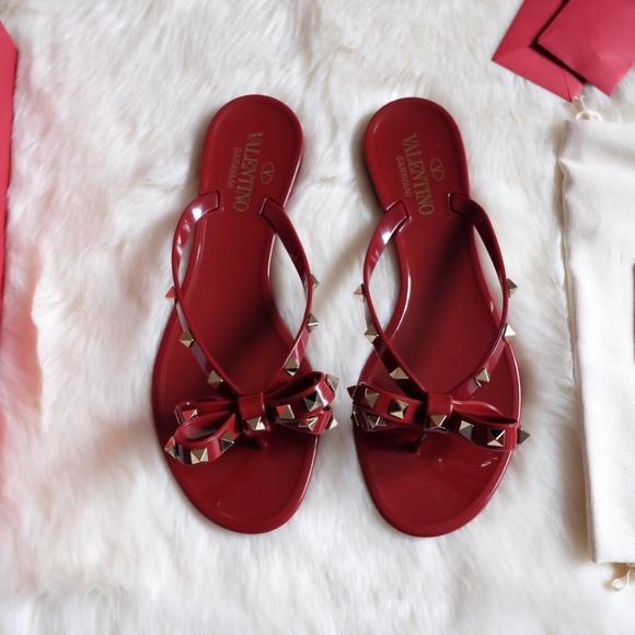 db936e7cae168 Valentino Shoes   Rockstud Rubino Flip Flop Pvc Sandals 38   Poshmark